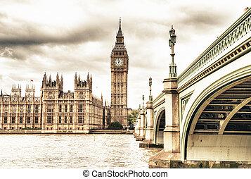 puente, parlamento, otoño, casa, ben, westminster, reino ...