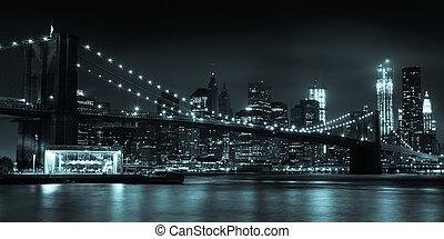 puente, parque, brooklyn, contorno, noche, manhattan