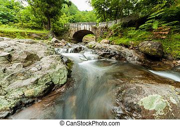 puente, piedra, asombroso, cascada, plano de fondo, pequeño