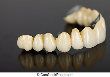 puente, porcelana, -, dental, dientes