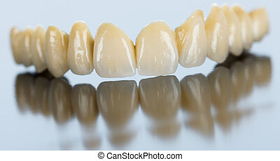puente, porcelana, dental, superficie, espejo
