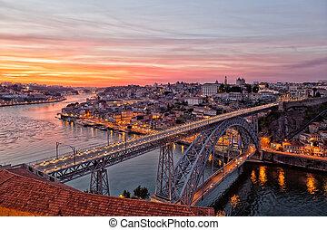 puente, porto, cima, portugal, luis, ocaso, vista