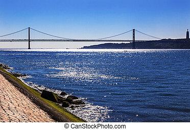 puente, portugal, ponte, abril, 25, belem, lisboa, río de...