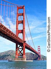 puente, puerta, dorado