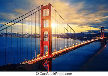puente, puerta, salida del sol, famoso, dorado