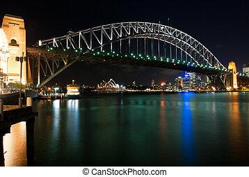 puente, puerto de sydney, noche