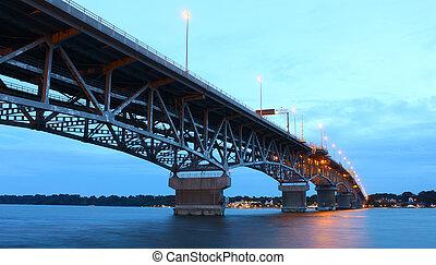 puente, río, el pasar por alto, yorktown, encima, virginia,...