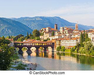 puente, río, viejo, spans, de madera, basano, del, brenta, ...