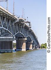 puente, río, yortktown, york, a través de