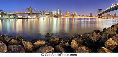 puente, rascacielos, panorama, céntrico, brooklyn, york, nuevo