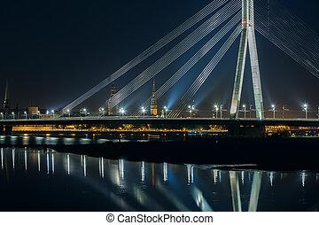 puente, riga, daugava, cablegrafíe permanecido, letonia,...
