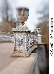 puente, slavyanka, encima, parque, río, pavlovsk