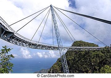 puente, suspensión, curvo