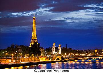 puente, tercero, touristic, sitio, paris., popular,...