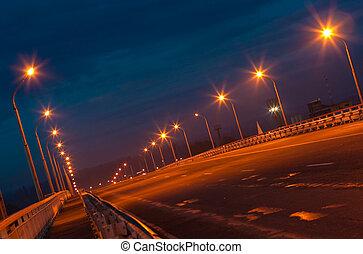 puente, tiro, vacío, noche