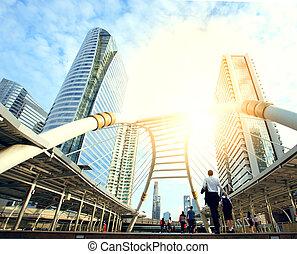 Puente, tono, bts, gente, Color, moderno, azul, ciudad,...
