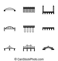 puente, transición, iconos, conjunto, simple, estilo