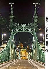 puente, vacío, vertical, noche