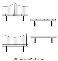 puente, vector, ilustración