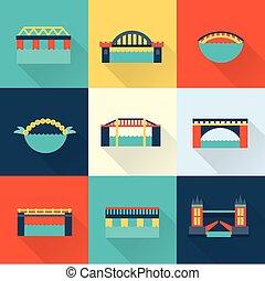 puente, vector, plano, icono