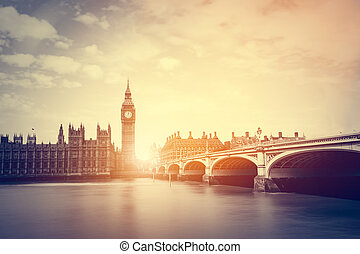 puente, vendimia, ben, westminster, uk., thames, grande, río, londres
