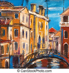 puente, venecia, antiguo