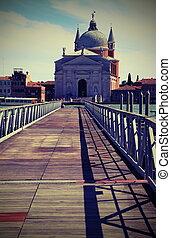 puente, venecia italia, distancia, th, barcos, flotar