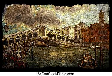puente, venecia, rialto, vista