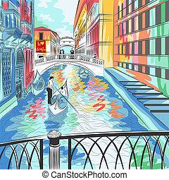 puente, venecia, vector, paisaje, suspiros