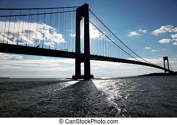 puente, verrazano, silueta, clásico, isla, -, staten, ny, ...