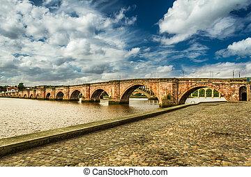 puente, viejo, encima, escocia, río tejido lana