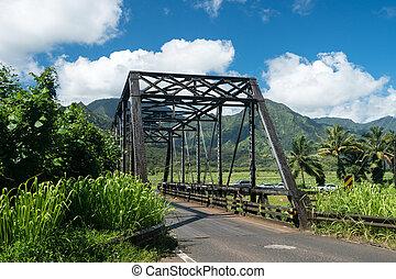 Puente, viejo, viga,  Hanalei,  metal,  Kauai, camino