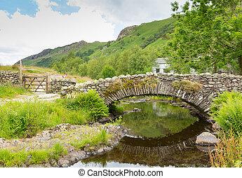 puente, watendlath, tarn, reino unido, packhorse