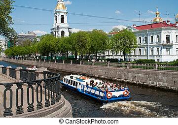 puentes, ciudad, embankments, ríos, russia., granito, ...