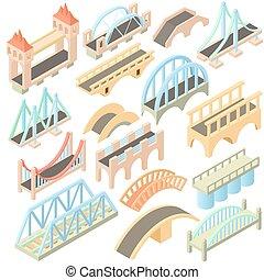 puentes, conjunto, isométrico, 3d, estilo