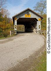 puentes cubiertos, en, noreste, ohio, counties., temprano, otoño, season.