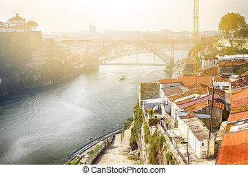 puentes, día, tradicional, porto, cityscape, portugal., ...