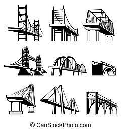 puentes, en, perspectiva, vector, iconos, conjunto