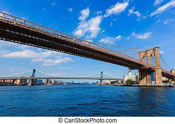 puentes, este, ny, brooklyn, río, manhattan