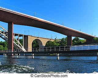 puentes, ferrocarril, estocolmo