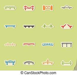 puentes, iconos, conjunto