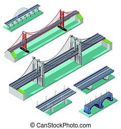 puentes, isométrico, conjunto
