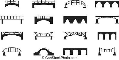 puentes, vector, iconos, conjunto