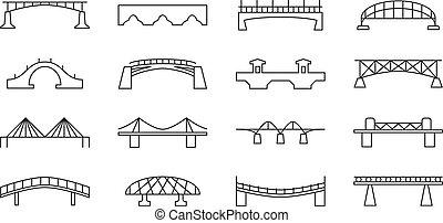 puentes, vector, línea fina, iconos, conjunto