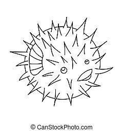 puerco espín, estilo, animales, illustration., icono, pez, aislado, fondo., vector, mar, blanco, acción, símbolo, contorno
