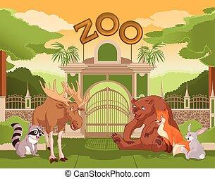 puerta,  2, animales, bosque,  zoo