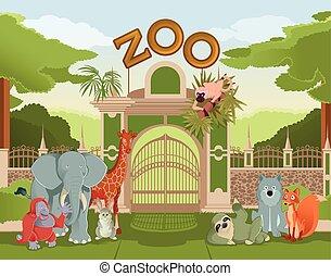 puerta,  3, animales,  zoo