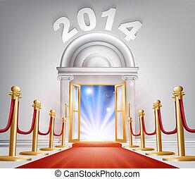 puerta, año, nuevo, 2014, alfombra roja