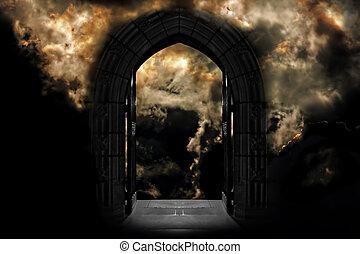 puerta, a, cielo, o, infierno
