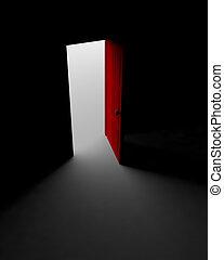 puerta, a, el, luz